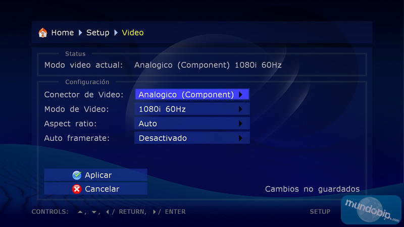 Configuración de vídeo Dune HD Base 3.0