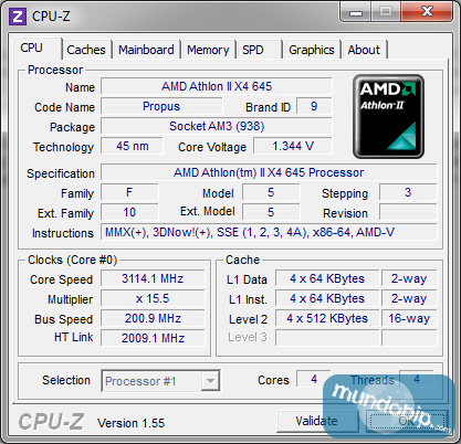 CPU-Z AMD Athlon II X4 645